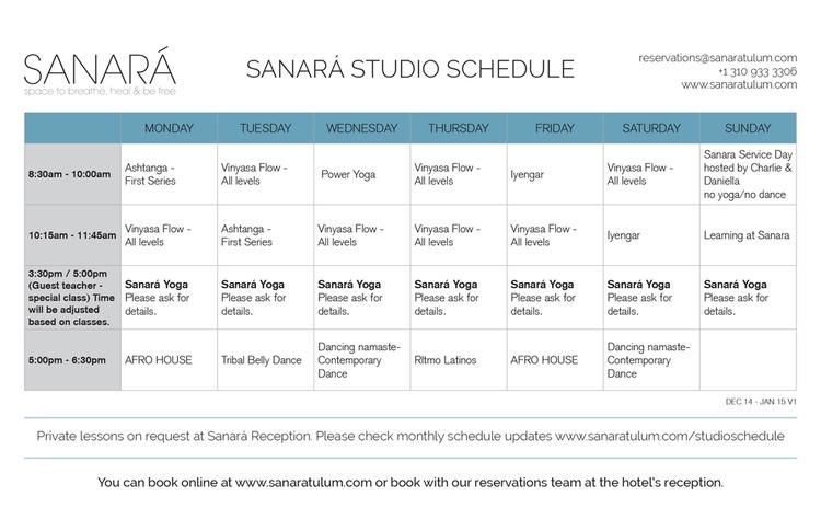 y yoga schedule