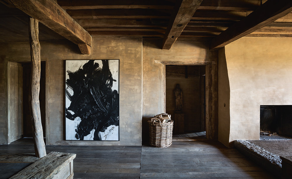 In the 'wabi room' at Vervoordt's castle, 'Yuboku II', by Kazuo Shiraga, 1989. Photography: Frederik Vercruysse