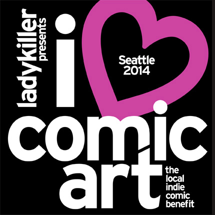 "Logo design for Ladykiller Productions, for ""i <3 comic art"", an indie-comics art show in Seattle running during Emerald City Comic-Con."