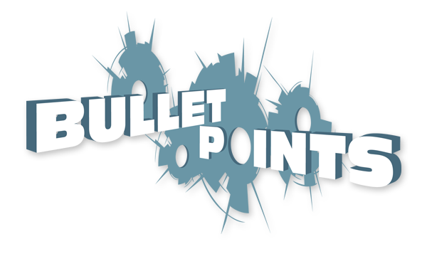 Logo for a podcast called Bullet Points.