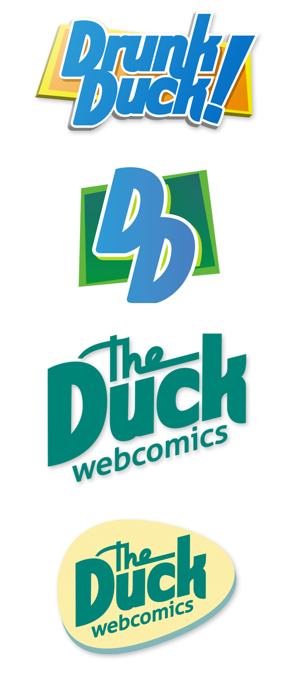 Set of logos for DrunkDuck.com during the re-brand into TheDuckWebcomics.com.