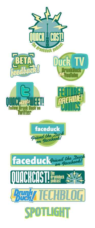 Badges and titles for the various Website sections and features.