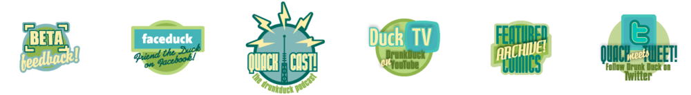 A series of badges designed for DrunkDuck.com, to serve as branding for the various content sections of the site.