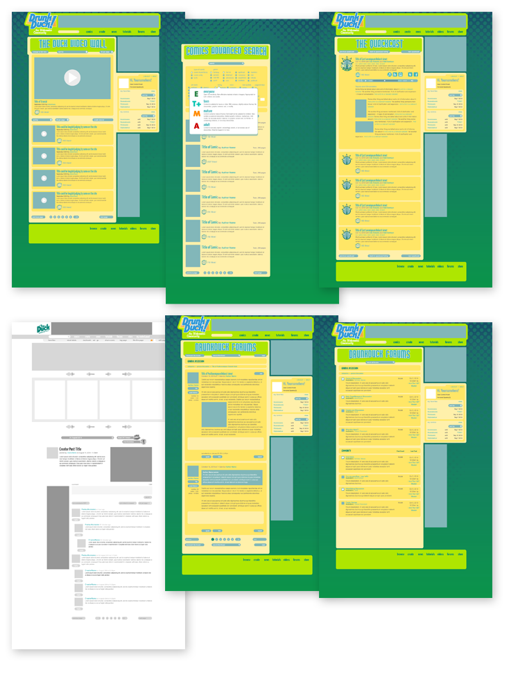 Interior pages. A video collection wall; a comics browser with tag filters; a podcast page; a comic reader interface (the white page); a forum section with two page views.