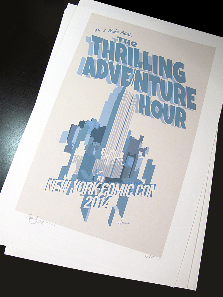 A series of posters for The Thrilling Adventure Hour, as it traveled and toured to New York, Australia, New Zealand, and other exotic locales!