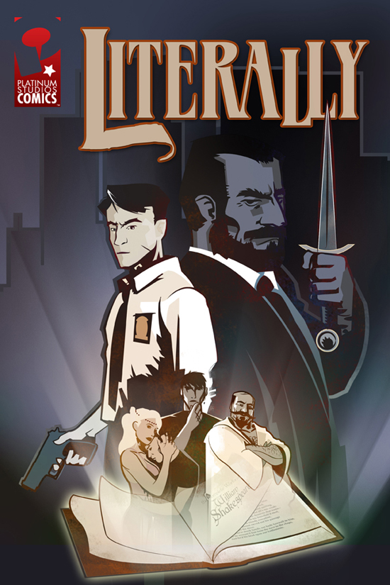Key art and logo design for a comic about Shakespearean characters come to life and committing crimes in the noir style.
