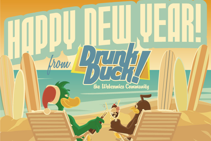 Vector illustration for the DrunkDuck.com holiday card, featuring the cartoon mascots reclining in traditional Southern California wintery style.