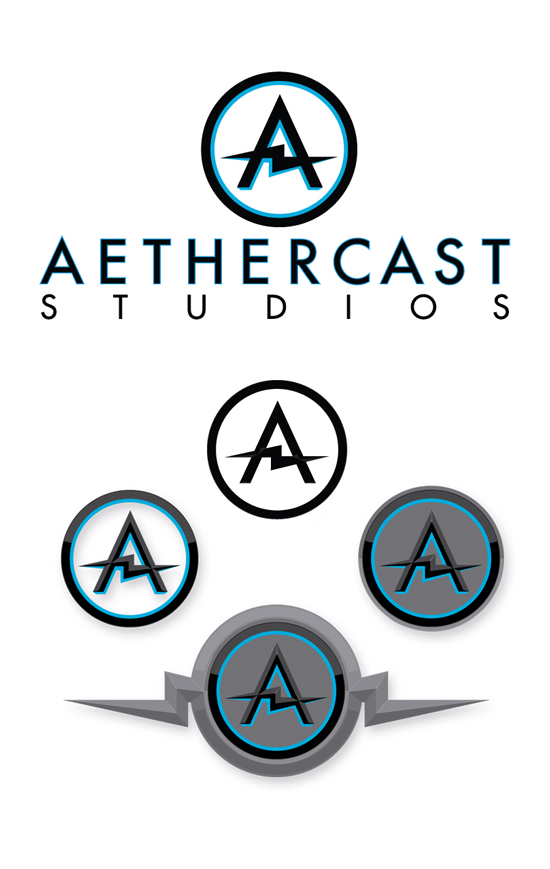 Logo design finals for Aethercast Studios (a small game design studio out of Atlanta).