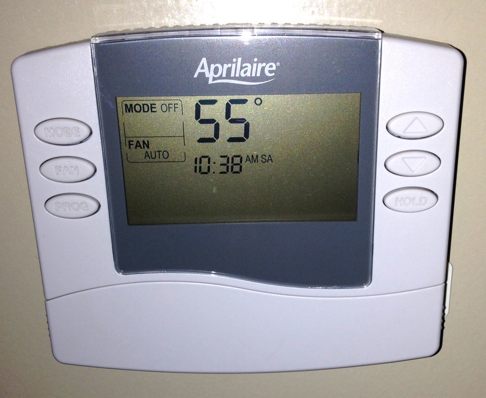 Wally and Stephanie Lowman have their own game of keep-the-furnace-shut-off. This is the thermostat at their house.