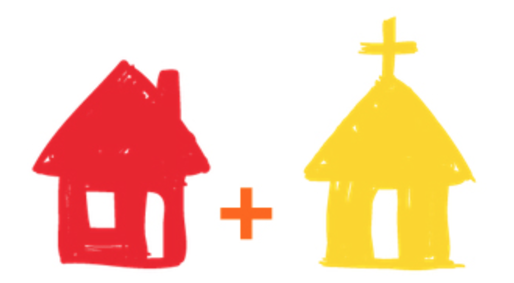 Red is the love and acceptance of the home. Yellow is the guiding light of the church.