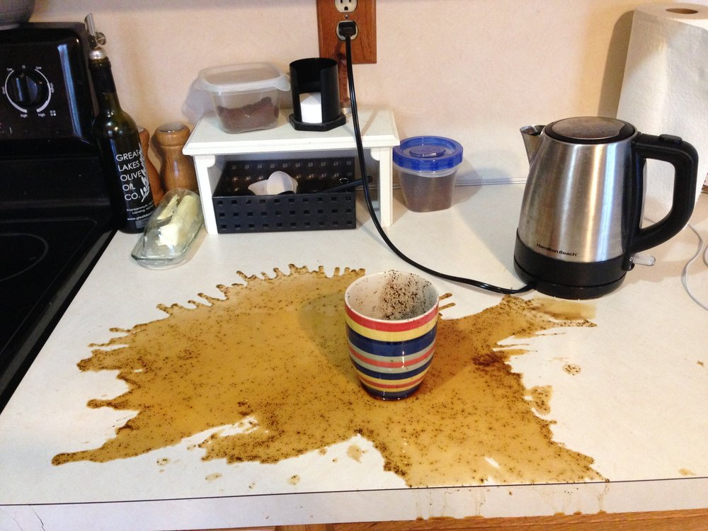#nofilter! Josh tried making a cup of coffee with an Aeropress WITHOUT a filter. Yikes.