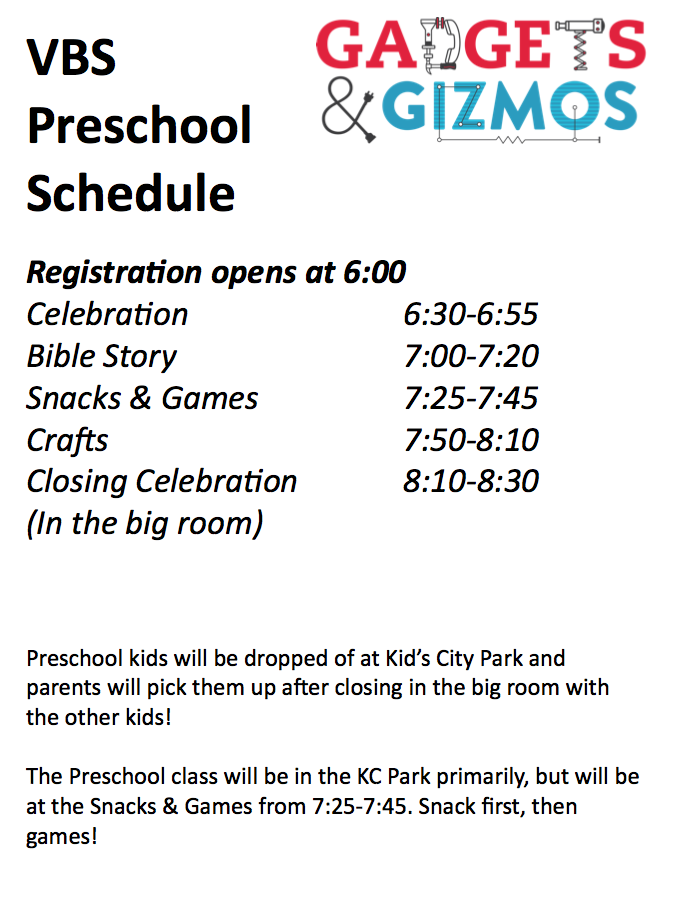 VBS Preschool Schedule.
