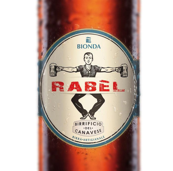 Rabel bottiglia etichetta close up
