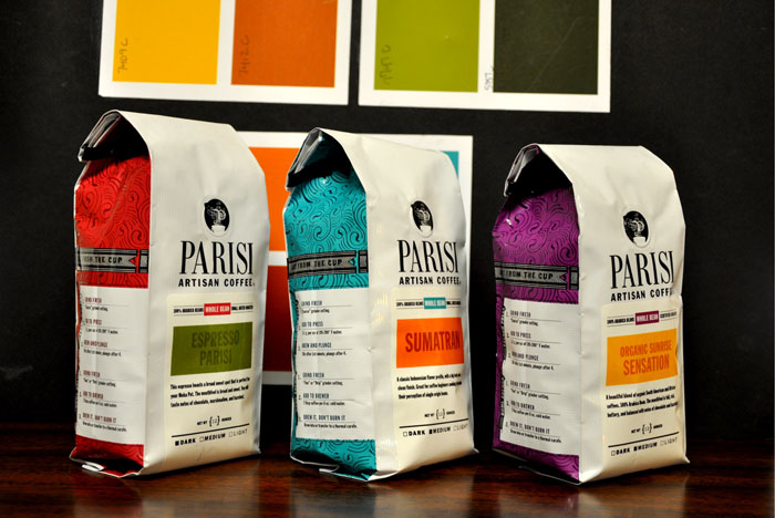 Front of Parisi Coffee bags