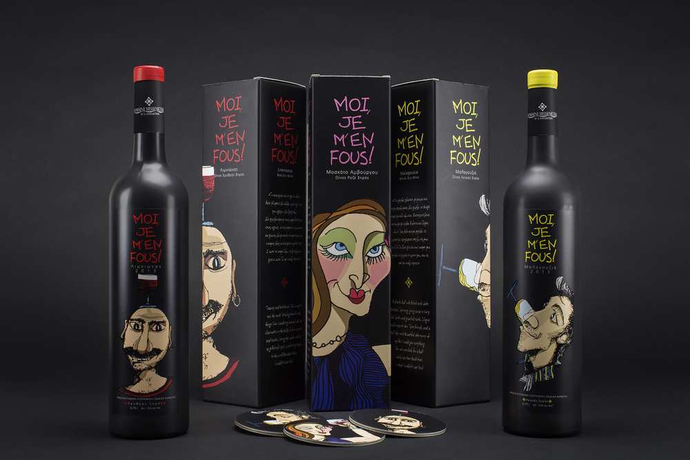 moi je m 39 en fous wine series for domaine messenicolas the dieline packaging branding. Black Bedroom Furniture Sets. Home Design Ideas