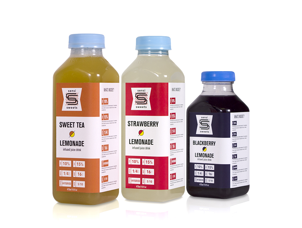 Sensi Sweet Tea Lemonade's in a two sizes: design by Matt Bradley