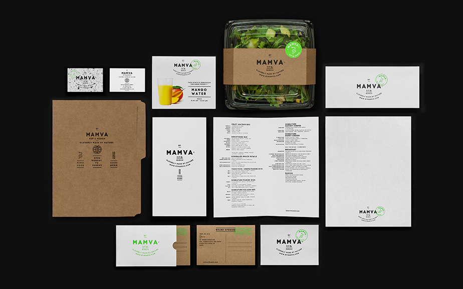 the logotype presents a built in all in one practical guide to everything mamva such as its schedule and phone number the brand also