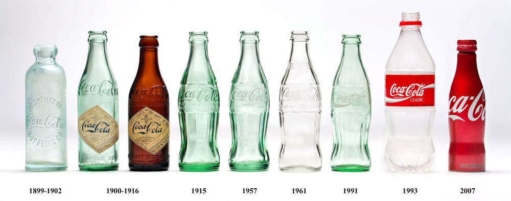 The Coca-Cola bottle is probably one of the most iconic packaging shapes in history, so much so that arguably the shape of the bottle 'is' the brand. The shape has slightly evolved over the years appearing mostly in glass, but also produced in both plastic and metal, but keeping with the iconic shape.