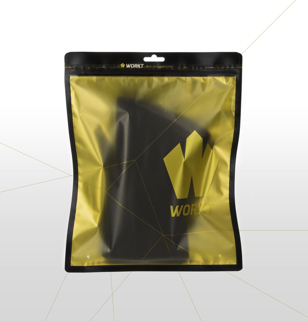 Workt knee sleeve bag the dieline packaging branding for Bags for t shirt packaging