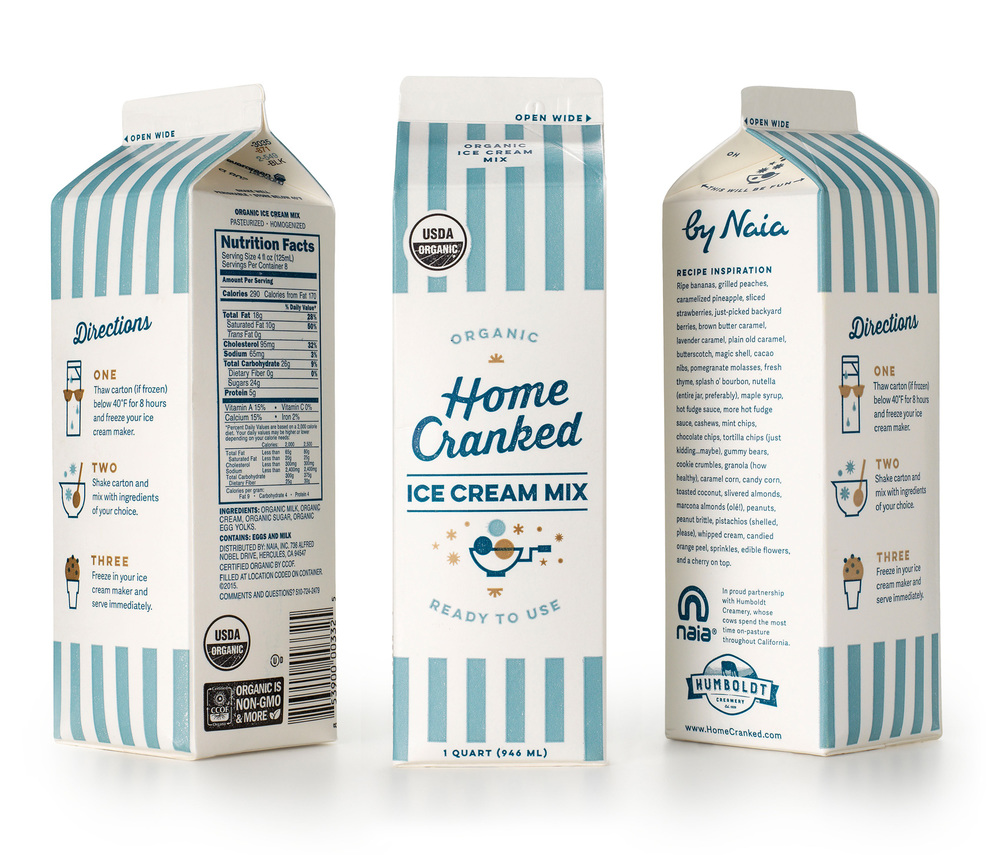 Home cranked ice cream mix the dieline branding for Home ingredients design
