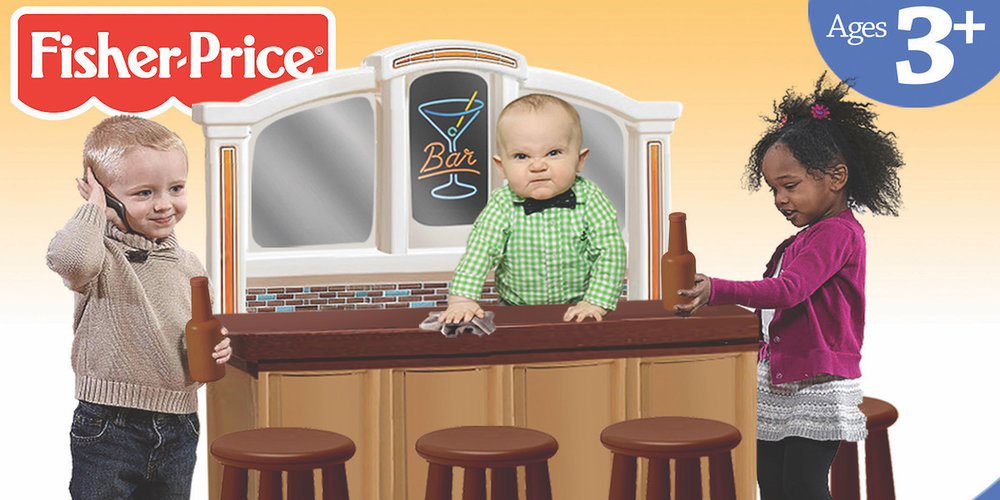 The Hilarious Fake Packaging of the Fisher Price Happy Hour Playset — The Dieline | Packaging ...