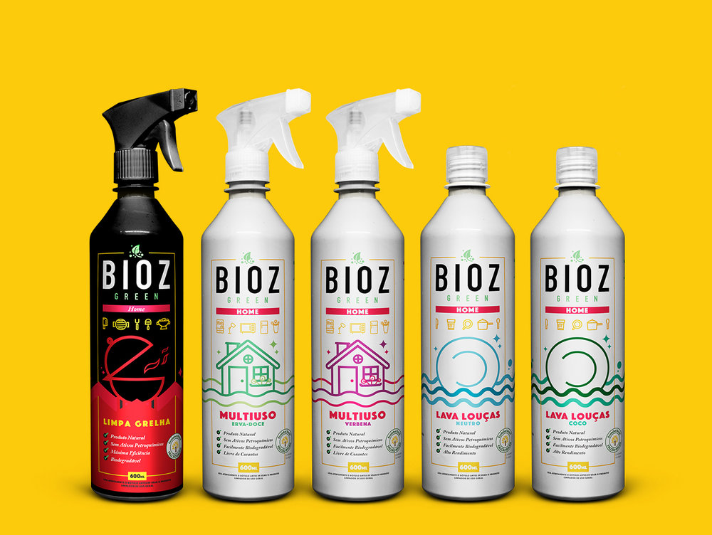 u201cwork developed for bioz green line of cleaning supplies for home all products are vegan and do not harm the environment we created the logo and all the