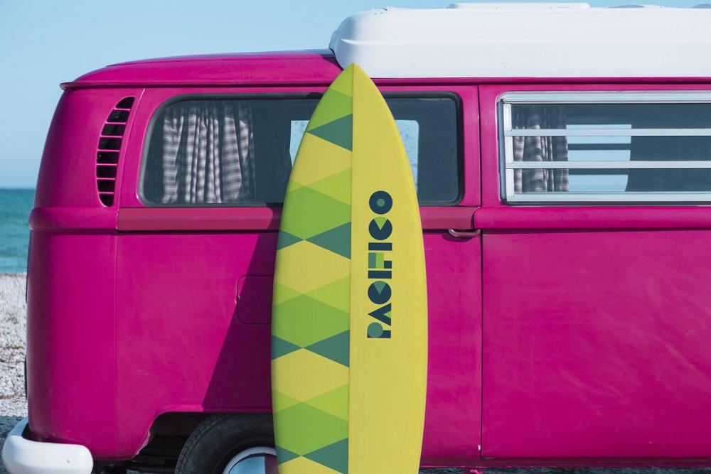 surf board and van