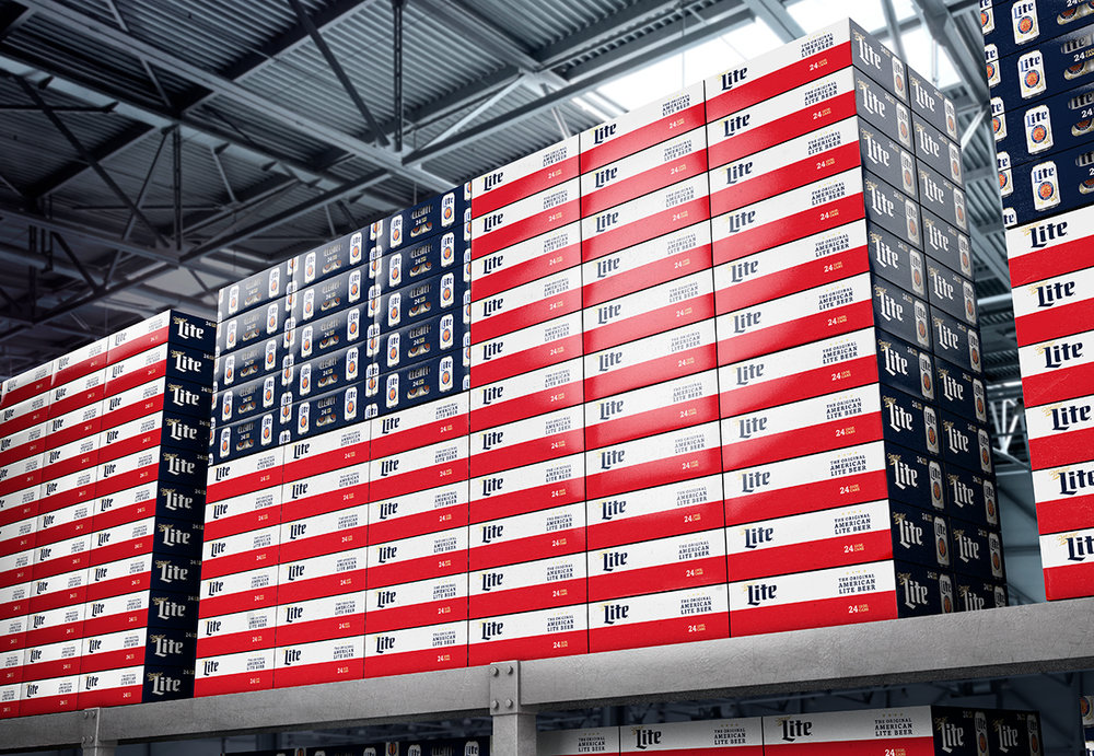 The dieline awards 2017 miller light summer the dieline the introduction of two new panels to the miller lite equity pack enabled an economic and scalable design that created the american flag when stacked in aloadofball Gallery
