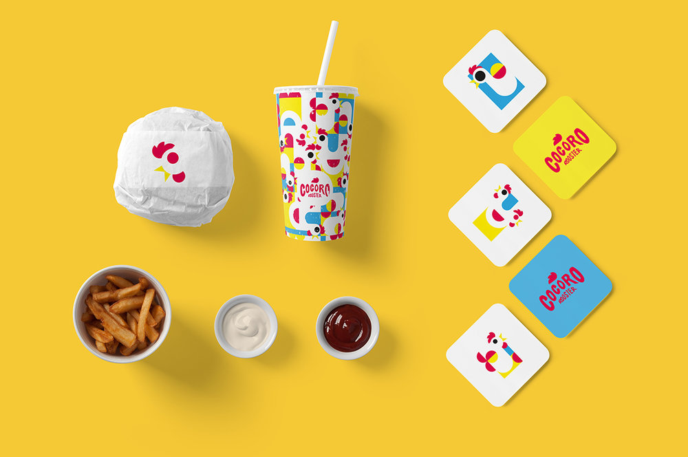 fast food restaurant that serves chicken based meals with a dynamic and cheerful concept that entices both kids and adults with its fun branding design