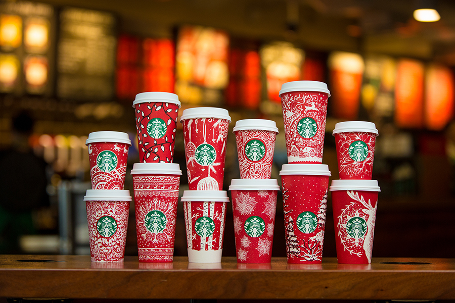 Starbucks red holiday cups photographed on November 9, 2016.  (Joshua Trujillo, Starbucks)
