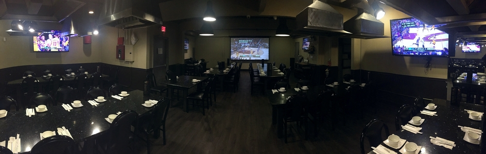 Our side dining hall is the perfect place to catch the game! Multiple viewing angles with a center 100 inch projector screen.