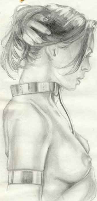 Sketch of woman in bondage