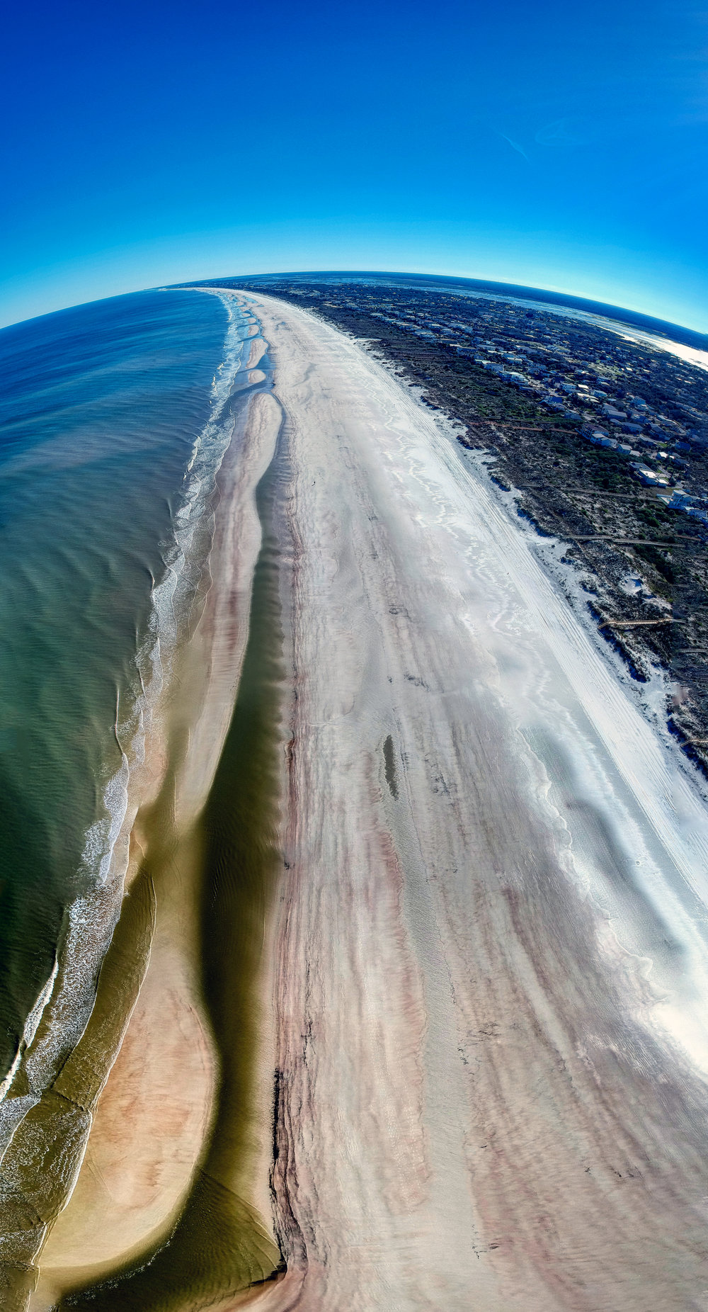 Manually Shot HDR Vertical Panorama of the Beach in Saint Augustine, Florida use DJI Spark Drone.
