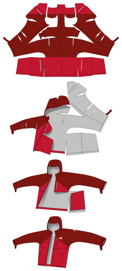Diagram of the pattern engineering on the Fuse Uno jacket. Credit: The North Face