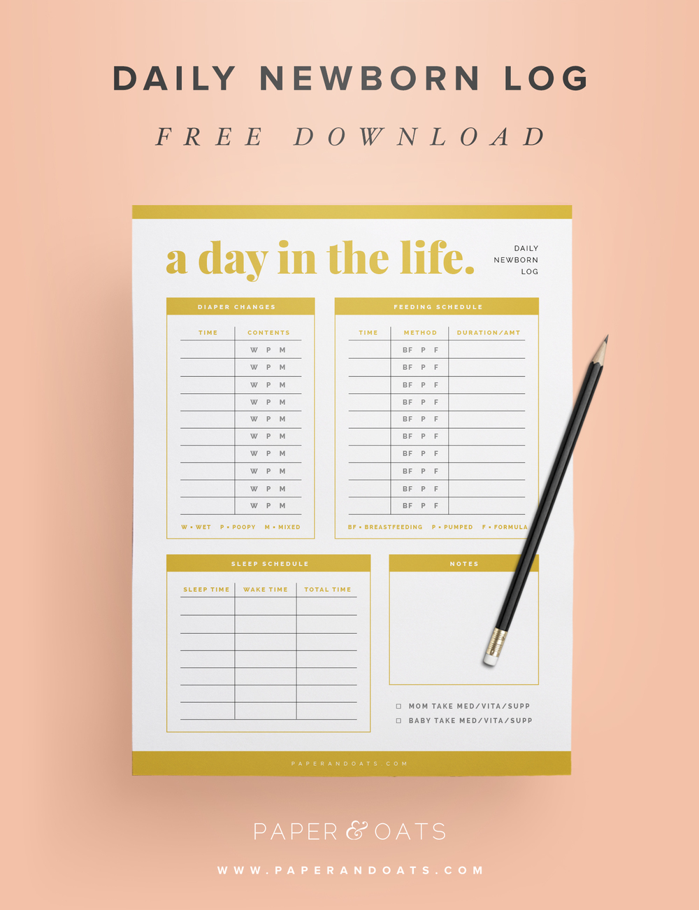 Free download – Daily Newborn Log from the Newborn Planning Kit