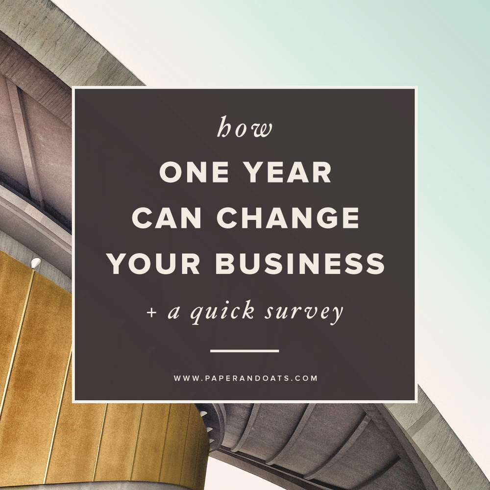 How one year can change your business (+ a quick survey) from Paper + Oats