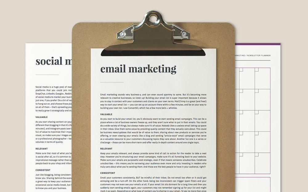 Content Marketing Kit - learn blogging, email marketing, and social media to grow your audience - a PDF kit by Paper + Oats
