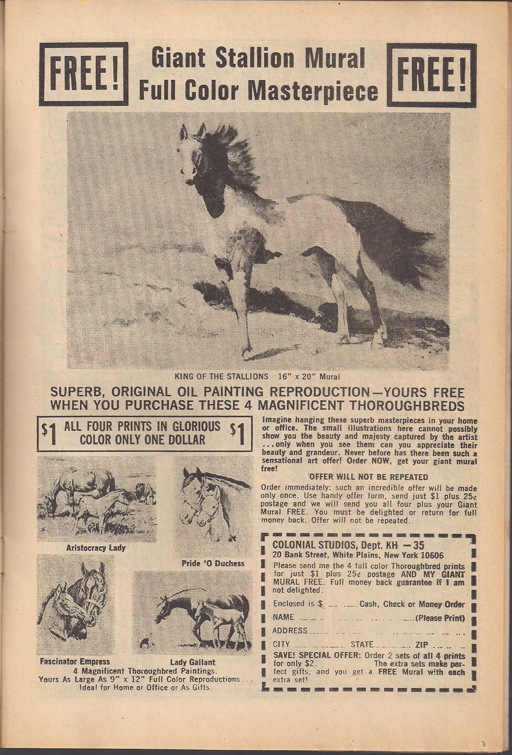 Four prints of horses for a dollar!?