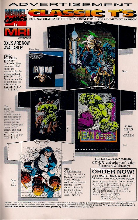 Can anyone find me either the Hulk or Death's Head shirts?