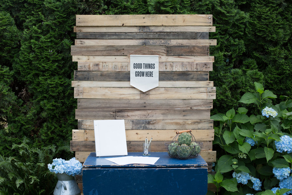 Farmers Market baby shower guest book table