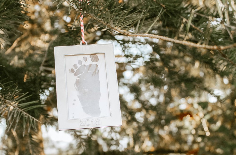 Baby's First Christmas footprint ornament