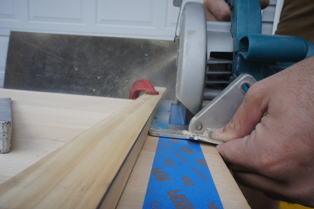 We use a straight-edge to maintain square edges throughout the project.