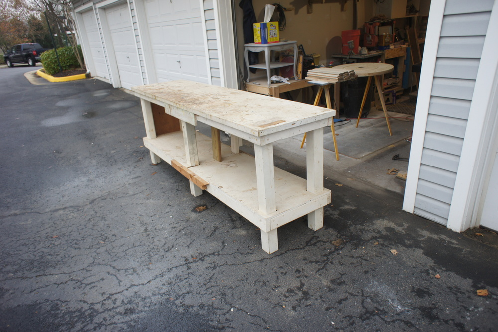This is a 30yr old work bench that will be re-purposed to create the vanity base.