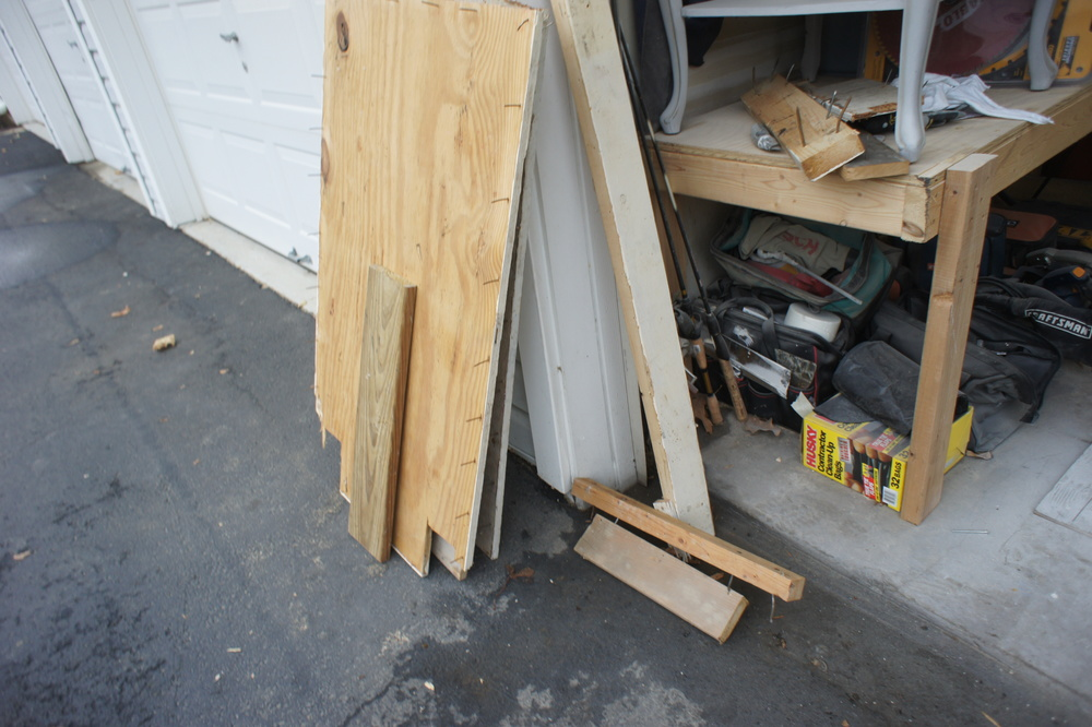 Stacked plywood after sorting.