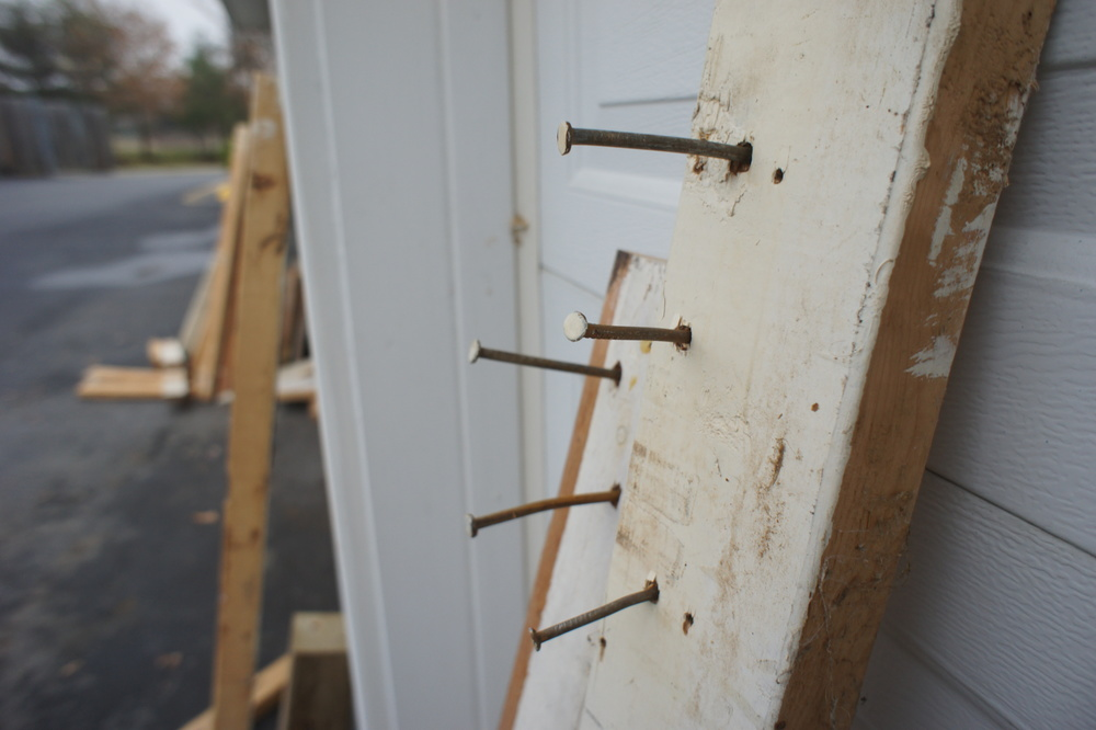 Large 16d-20d nails held this workbench together.