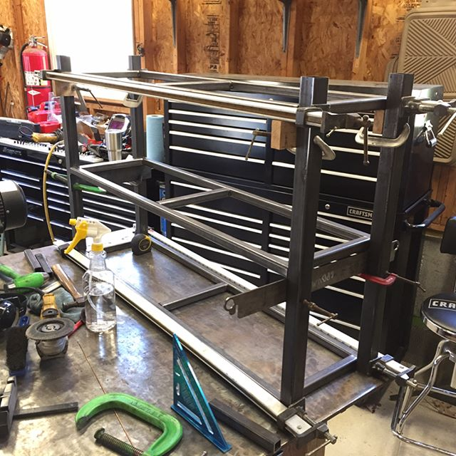 Sofa table frame is mocked up and ready for some welding! #reklaimindustriale #metal #custom #furniture #miller #welding #customfab #snapon #craftsman #clamps #smallbusiness #bluecollar #work #table #steel