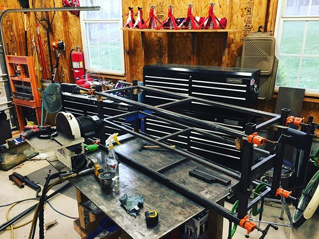 TV Stand is mocked up and ready for some welding! #reklaimindustriale #metal #custom #furniture #miller #welding #customfab #snapon #craftsman #clamps #smallbusiness #bluecollar #work