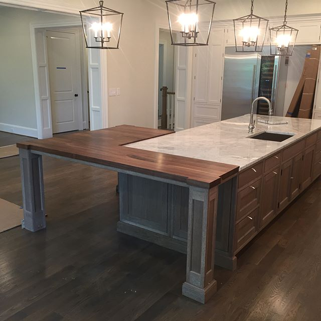 Few more shots of the custom walnut counter top that we did for our client. Those corner accents were fun. Let us know what y'all think! #reklaimindustriale #dowoodworking #walnut #custom #counter #countertop #washington #washingtondc #buildit #bluecollar #smallbusinessowner #smallbusiness #wood #kitchen #kitchenisland