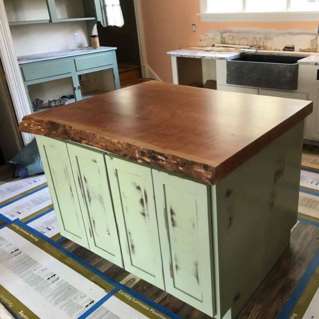 Another successful install and some ecstatic clients. A few firsts for us here at Reklaim with a live-edge slab complete with butterfly and our first Pennsylvania job. On to the next project, let us know what you think! #reklaimindustriale #dowoodworking #wood #bluecollar #smallbusiness #cherry #kitchen #kitchenisland #custom #customfabrication #distressed #cabinet #woodwork #installation #weekend #happy