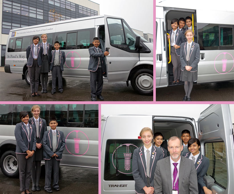 School Council Members celebrate the arrival of the SPWT Minibus